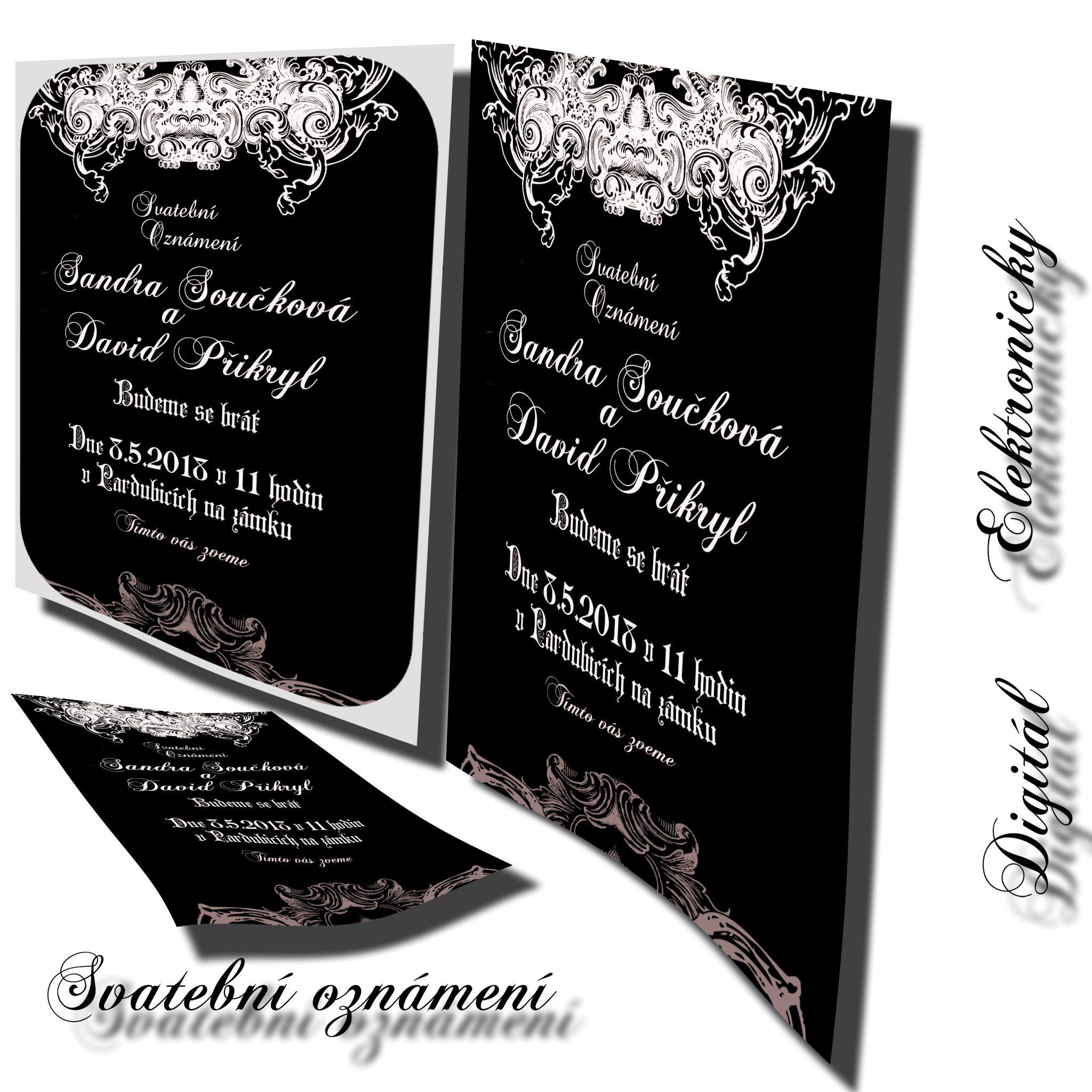 Novinka elektronické svatební pozvánky s jakýmkoliv designem